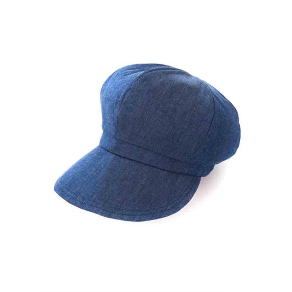 日本 SUN FAMILY - 體感-4.9度大帽簷可折疊貝蕾帽-丹寧 (頭圍59.5cm內)