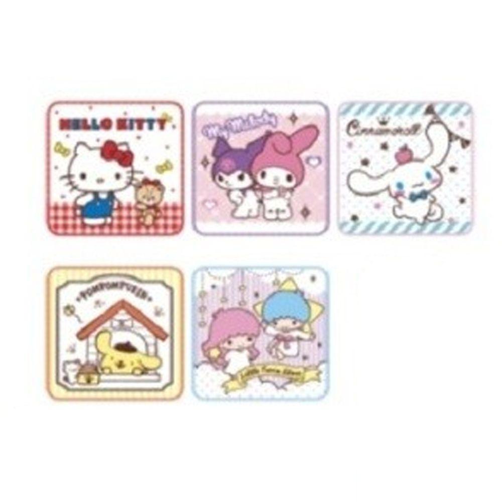 日本代購 - 卡通方形小手帕五件組-三麗鷗樂園 (15x15cm)