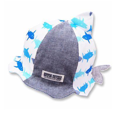 日本製小鯊魚波浪帽簷小童帽-米白