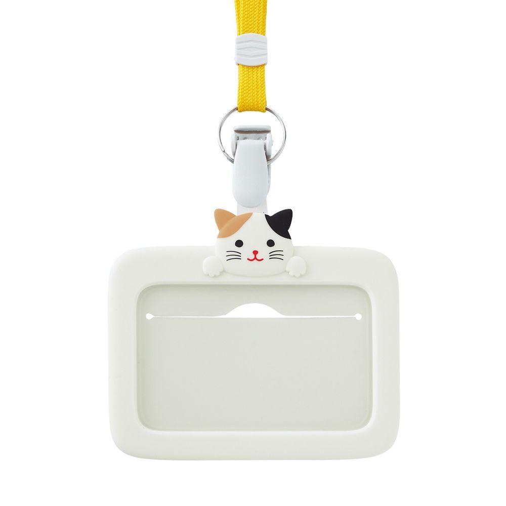 日本文具 LIHIT - 2way掛夾兩用矽膠證件套-小花貓