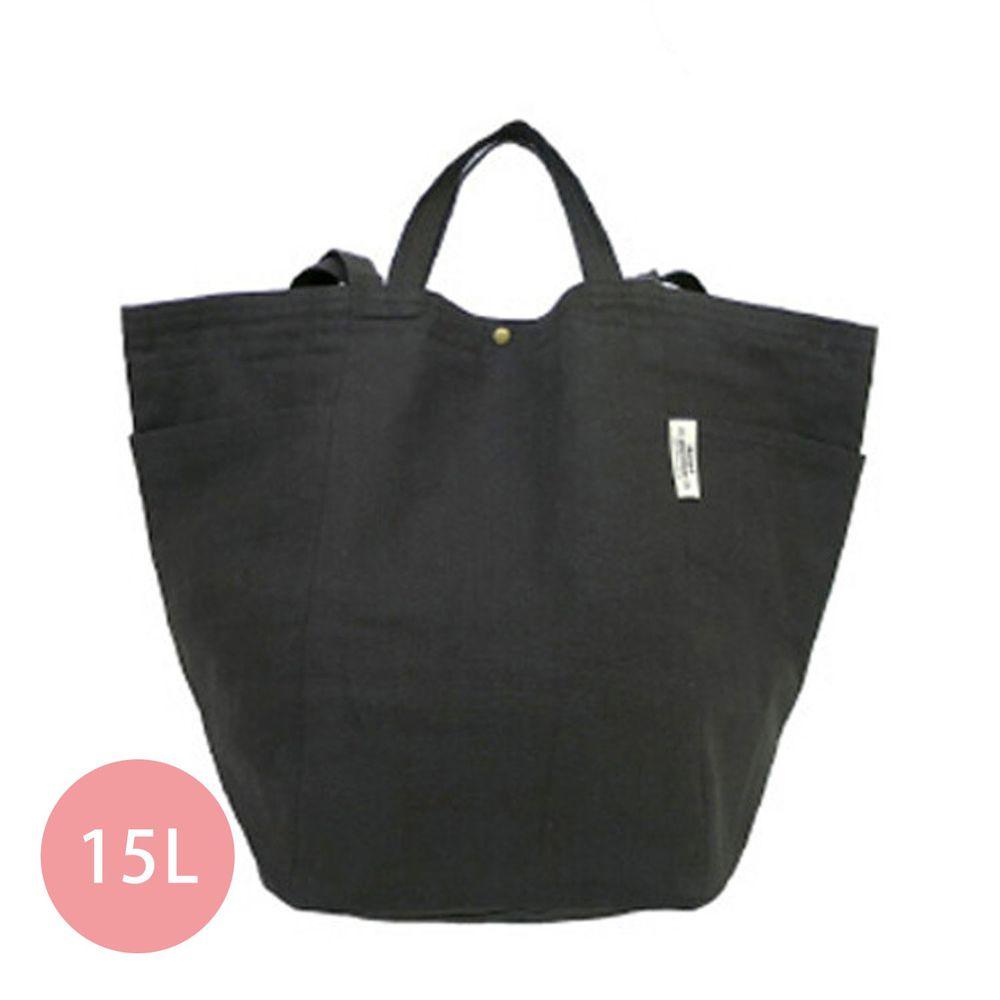 日本 Chepeli - 純棉 簡約2way大容量肩背包/手提袋-06. 深灰 (34x46x26cm)-15L