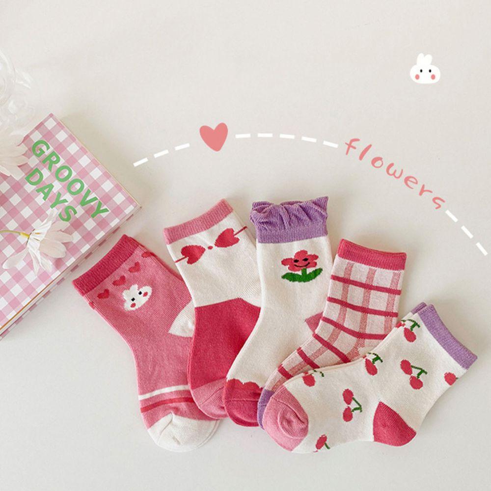 薄款兔兔蝴蝶結花邊短童襪 (5雙一組)