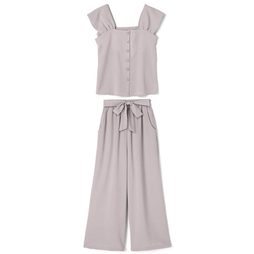 日本 GRL - 大蝴蝶結綁帶素色襯衫X寬褲套裝-淺灰杏 (M)