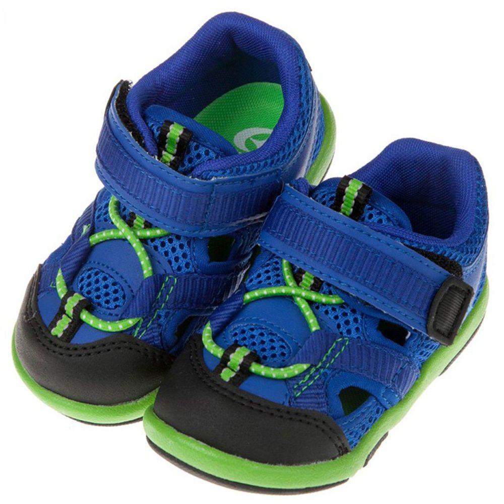 Moonstar日本月星 - 藍色透氣寶寶機能護趾涼鞋