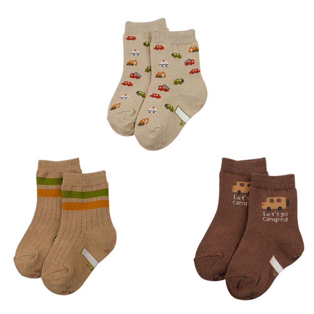 akachan honpo - 男中筒襪3雙組-汽車-咖啡色 (9~14cm)