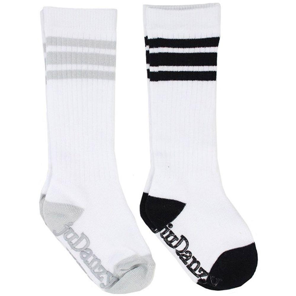 美國 juDanzy - 長襪兩入組-純白/灰與黑線條 (6-12M)