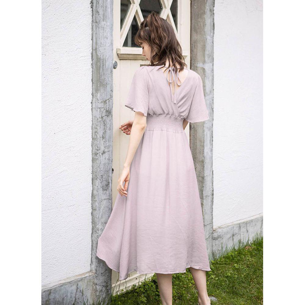 日本 GRL - 飄逸前後V領短袖洋裝-薰衣草