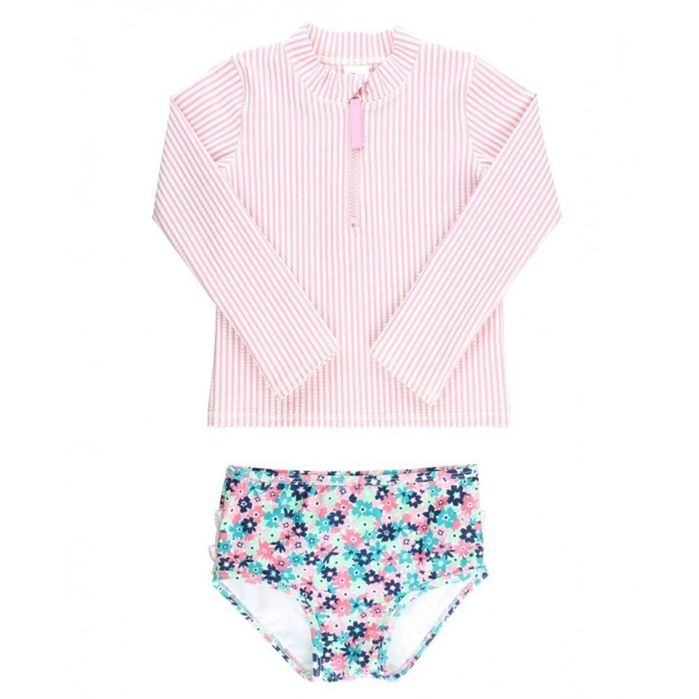 美國 RuffleButts - 小女童UPF 50+防曬兩件式長袖泳裝-粉色萬花筒