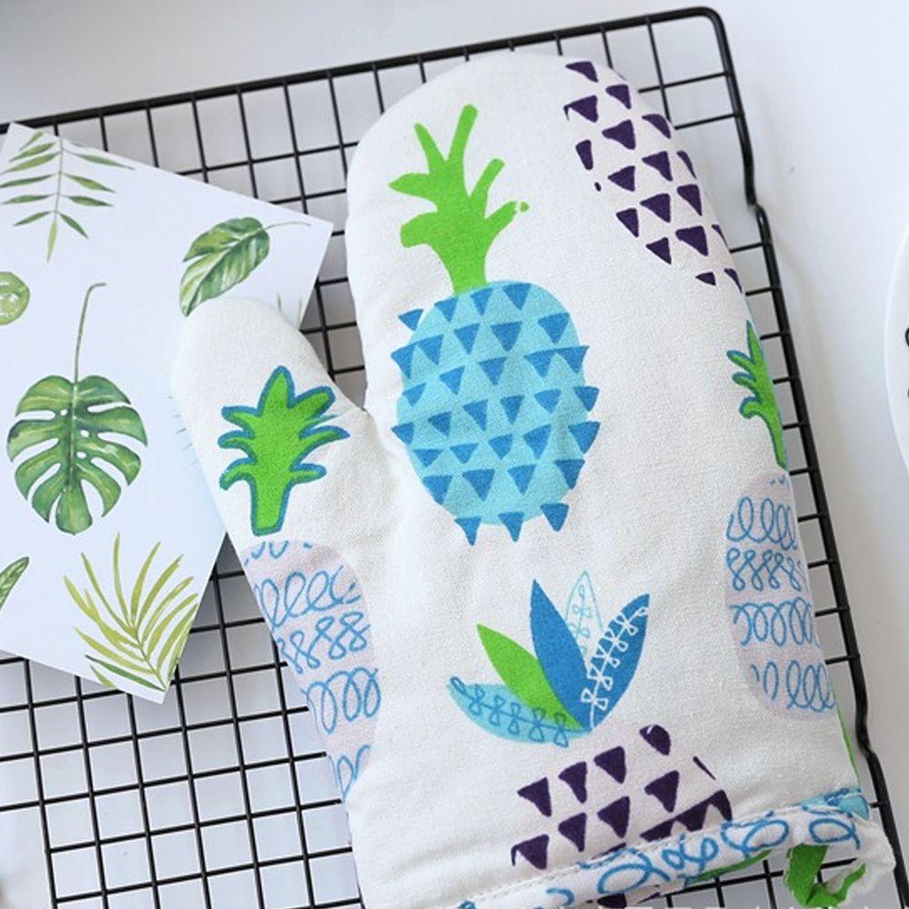 清新植物造型隔熱手套-鳳梨-藍色-單入