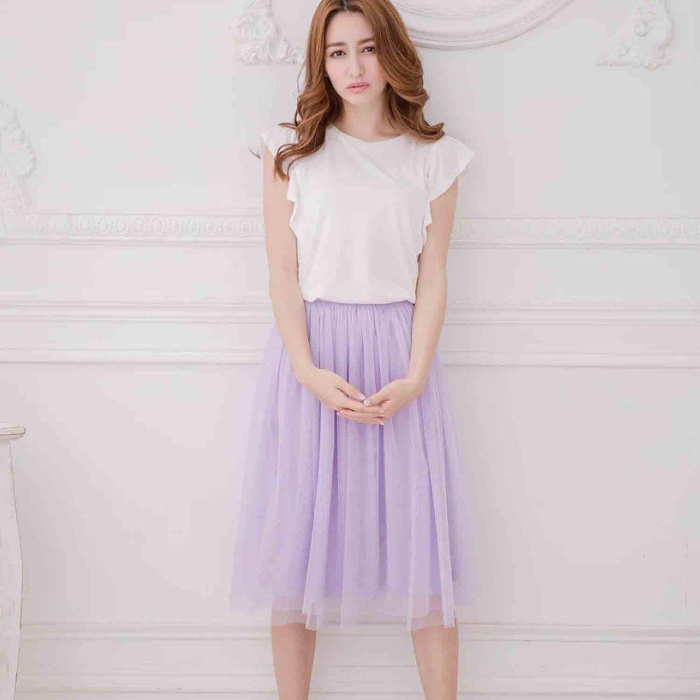 Peachy - 獨家訂製綿柔半身紗裙-半身中長版-薰衣草紫 (F)