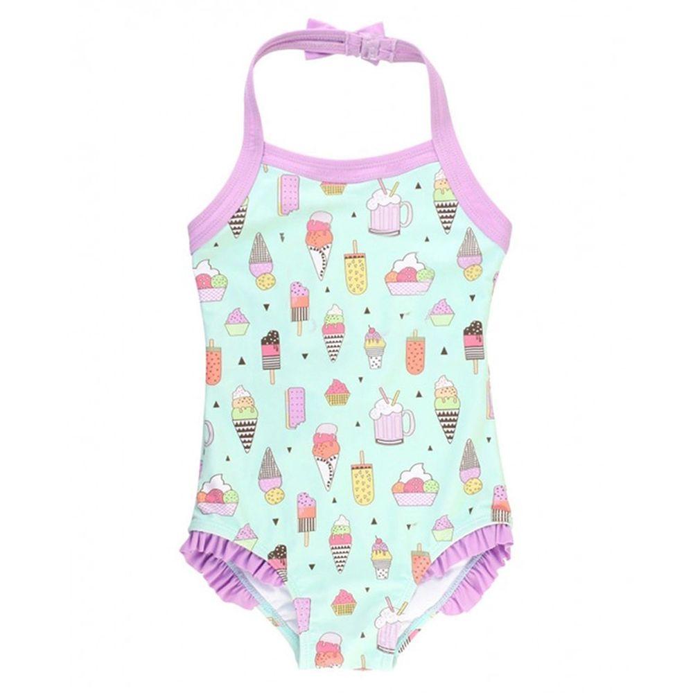 美國 RuffleButts - 小女童UPF 50+防曬無袖連身泳裝-夏日派對