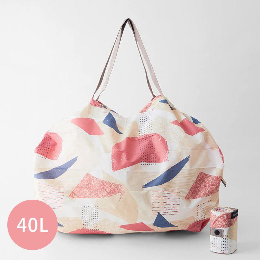 日本 MARNA - Shupatto 秒收摺疊購物袋(可掛購物籃)-五週年限定升級款-浪漫幾何 (L(50x38cm))-耐重15kg / 40L