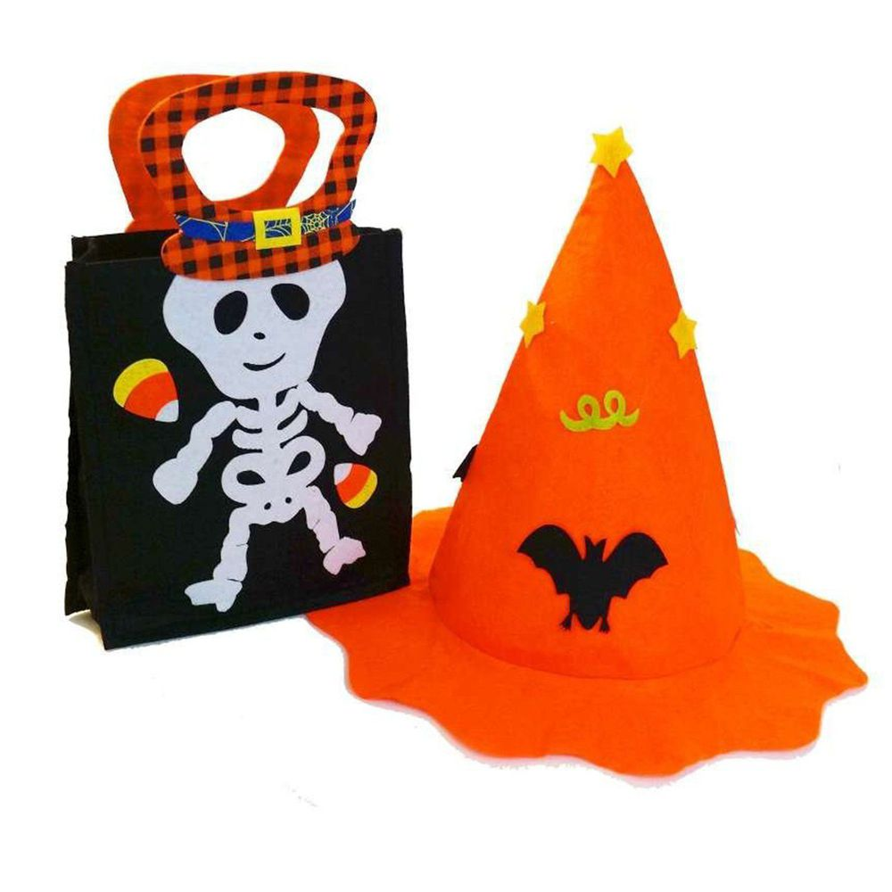 摩達客 - 萬聖派對萬聖兒童裝扮組 1+1組合-手提俏皮黑白骷髏糖果袋+橘蝙蝠南瓜巫婆帽