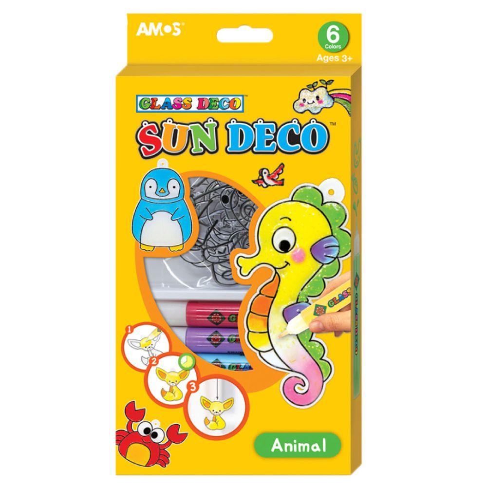 韓國 AMOS - 6色動物主題吊飾玻璃彩繪膠