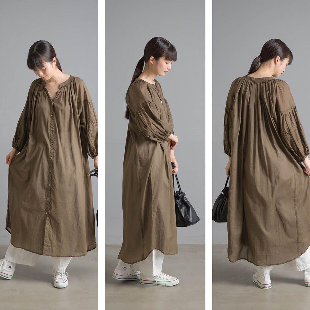 日本女裝代購 - 清涼薄透感純棉長袖中山領襯衫洋裝/外套-咖啡