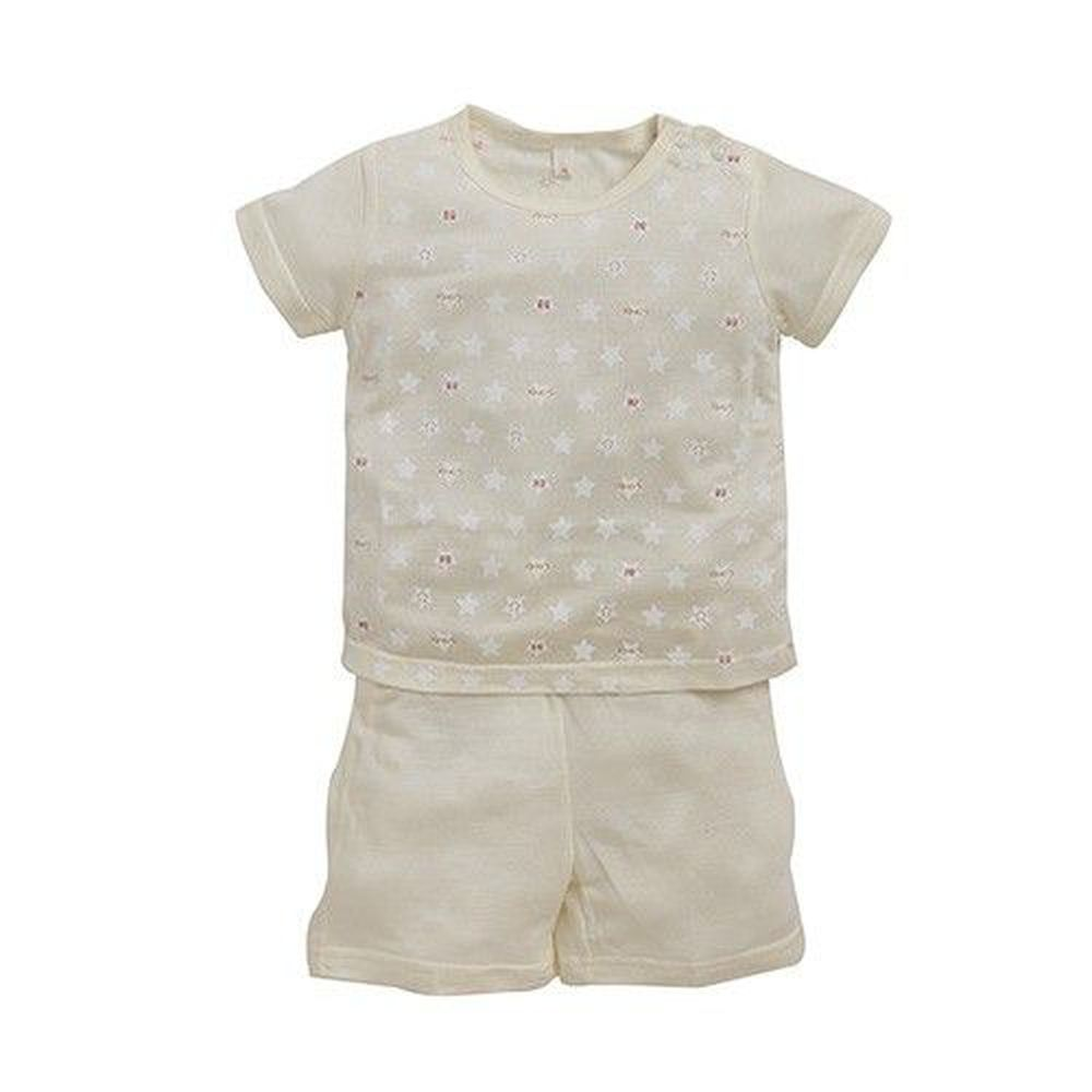 日本 Combi - 短袖滿版側開套裝(天絲棉)-小星星-黃色