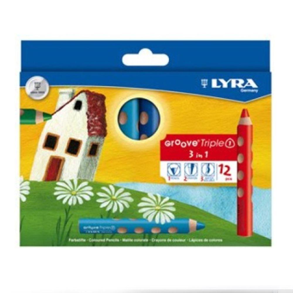 德國LYRA - Groove(3合1)胖胖三角洞洞筆(12色)-3歲以上