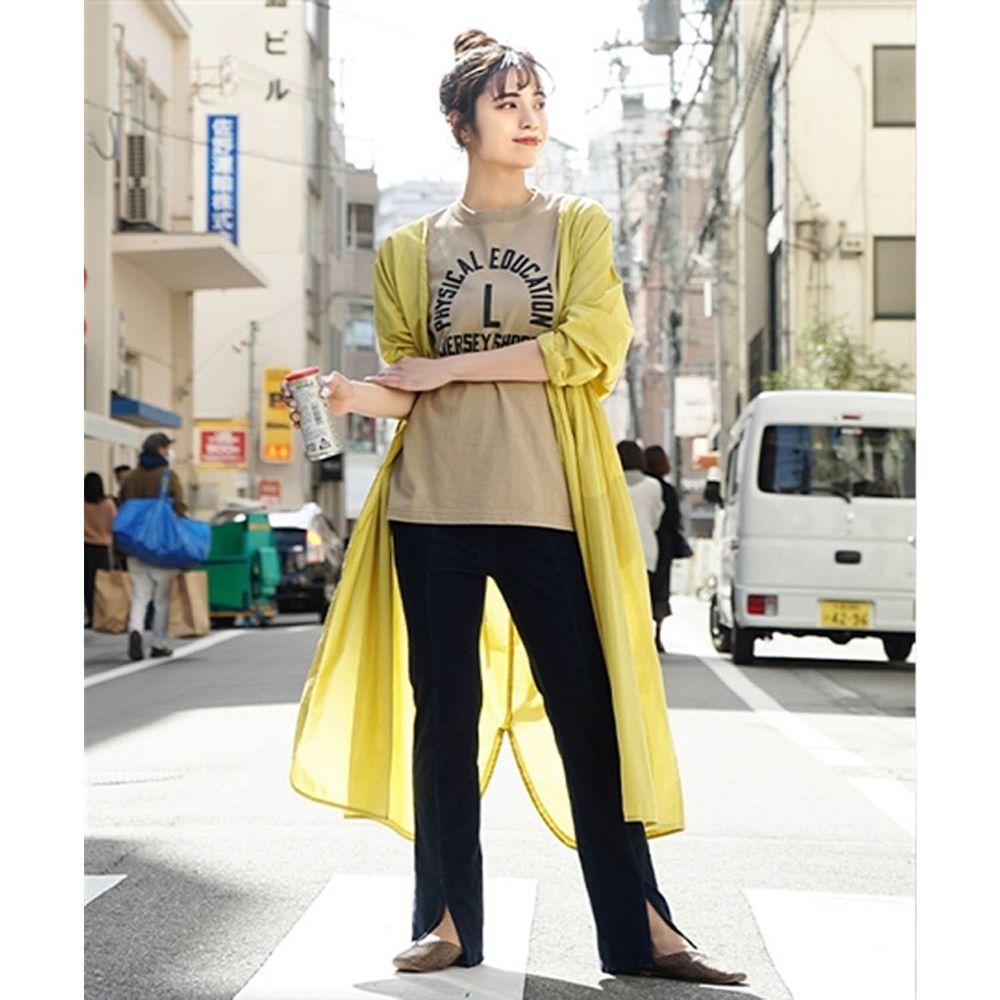 日本 zootie - 純印度棉長版綁帶罩衫/外套-萊姆黃 (F)