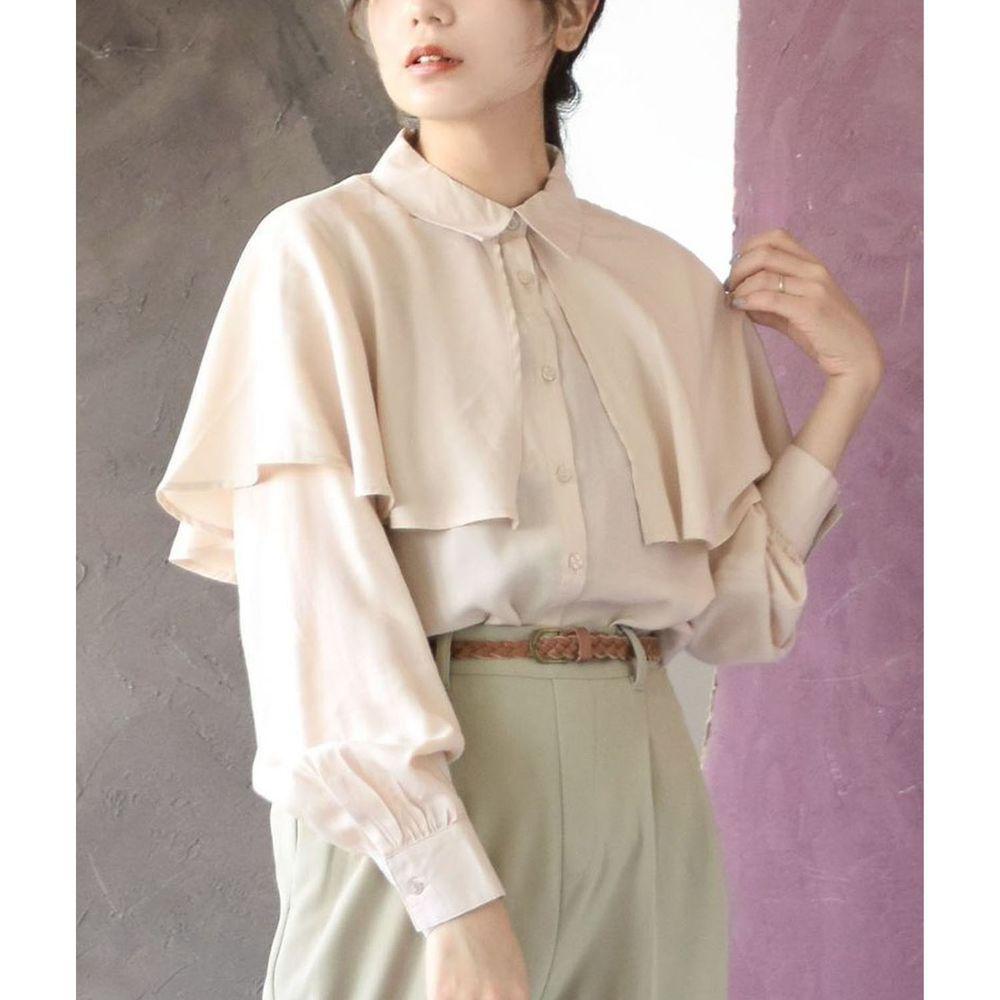 日本 zootie - 文藝復古大荷葉領雪紡長袖襯衫-米