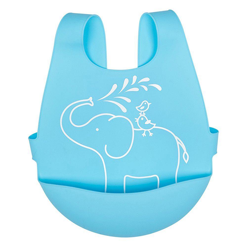 英國 JoJo Maman BeBe - 矽膠防掉落食物袋穿式圍兜-大象與鳥