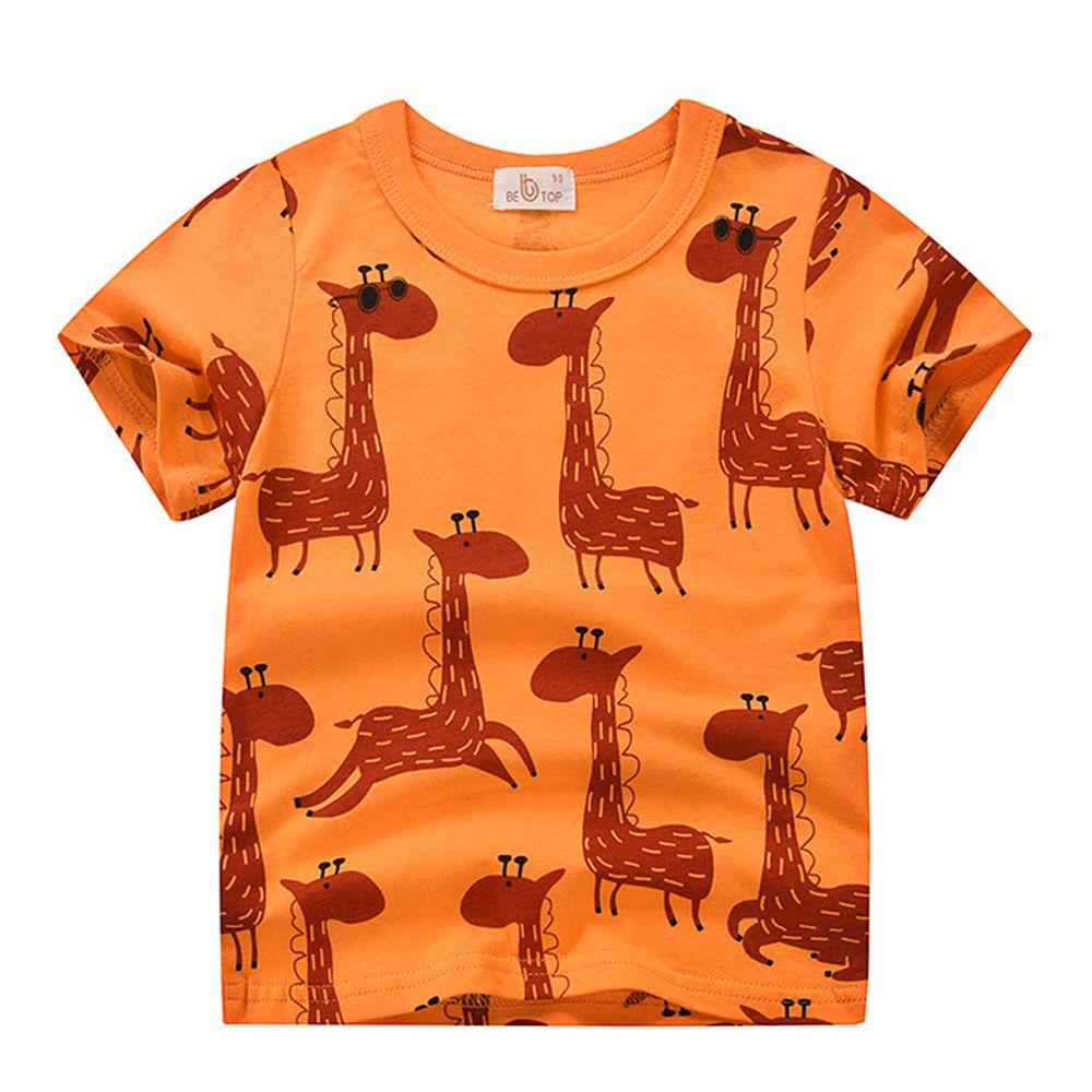 橘色長頸鹿純棉短袖上衣
