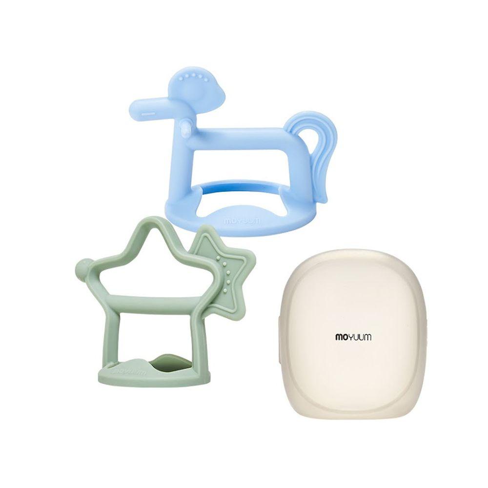 韓國 Moyuum - 白金矽膠手環固齒器禮盒-星馬款-薄荷綠+天空藍