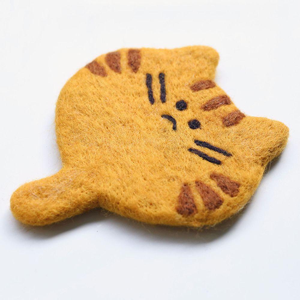 可愛動物造型羊毛氈杯墊-小橘貓