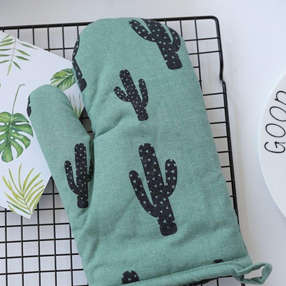 清新植物造型隔熱手套-綠色手套黑仙人掌-單入