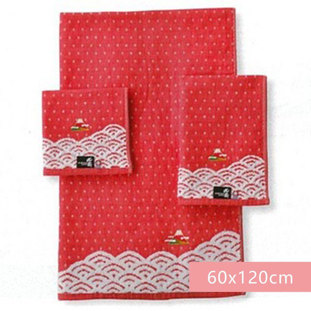 日本代購 - 日本製今治純棉浴巾-富嶽浪與富士-紅 (60x120cm)