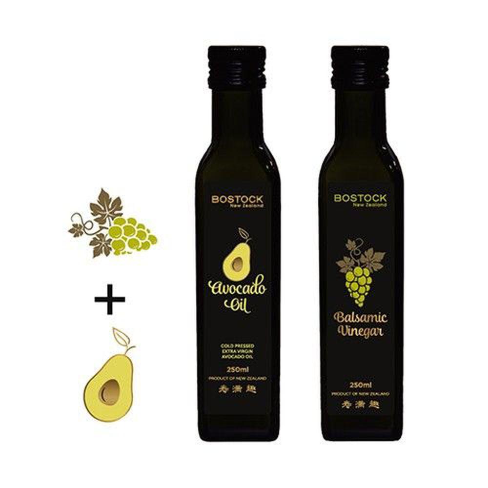 壽滿趣-紐西蘭BOSTOCK - 頂級優惠兩件組-頂級冷壓初榨酪梨油+巴薩米可醋-250ml*2