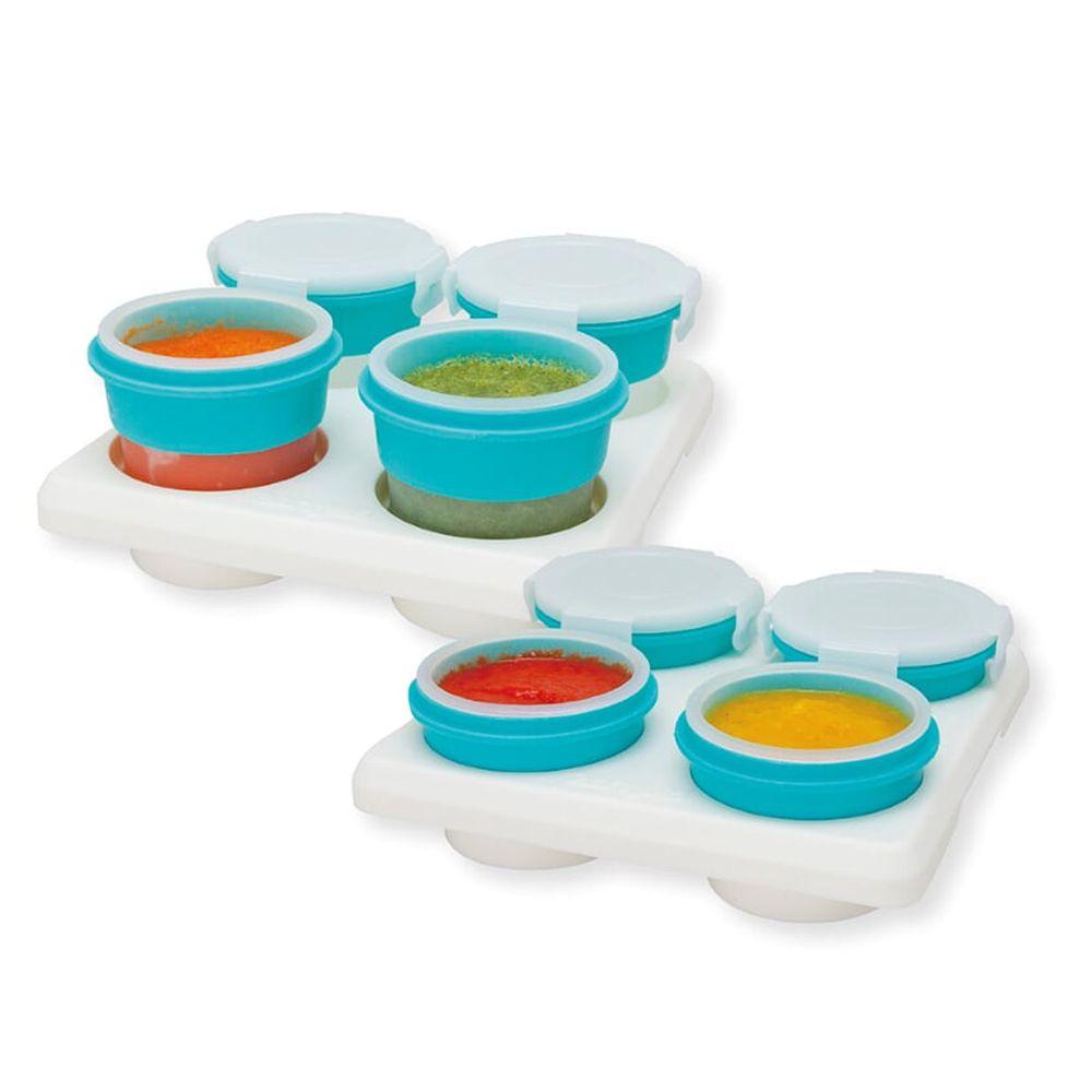 2angels - 矽膠副食品零食儲存杯(附杯架)-60ml+120ml