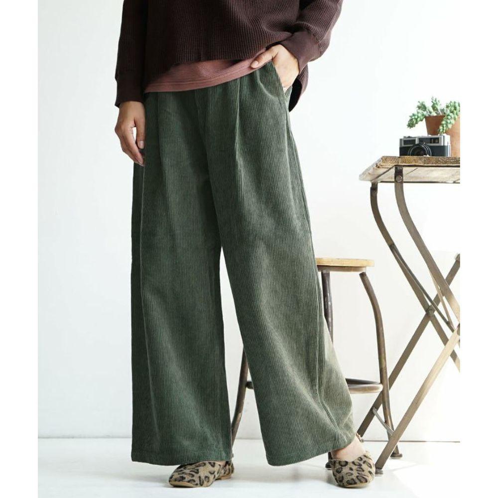 日本 zootie - 俐落帥氣燈芯絨寬褲-墨綠