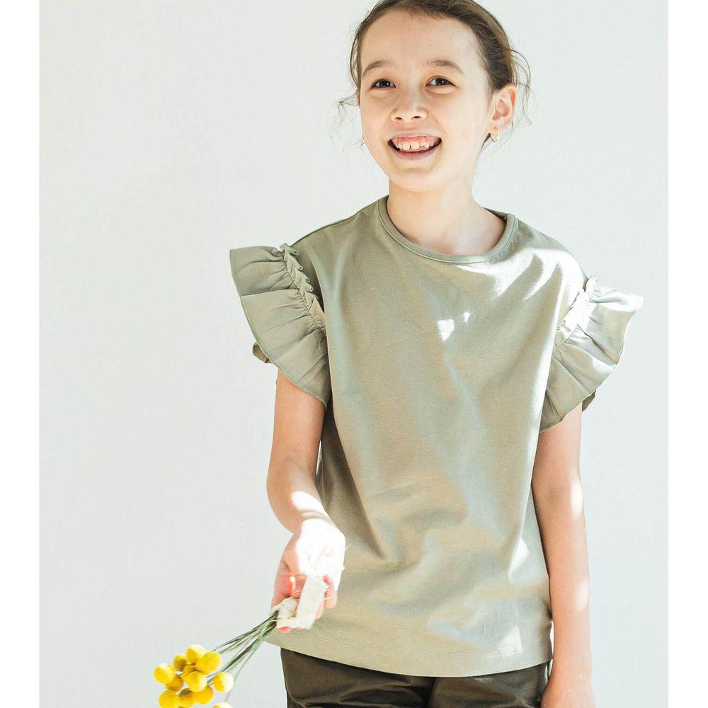 日本 PAIRMANON - 大荷葉薄紗拼接一分袖T-薄荷