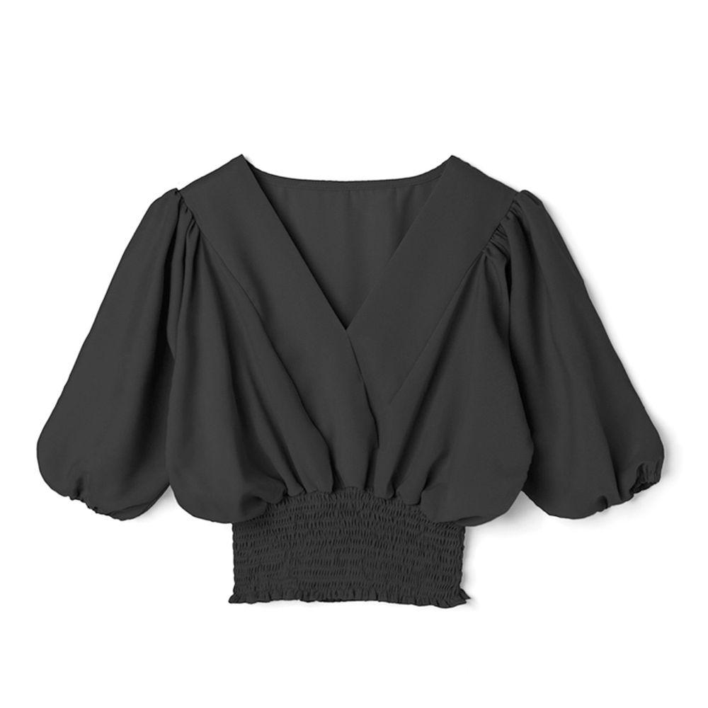 日本 GRL - V領五分袖縮腰上衣-時尚黑