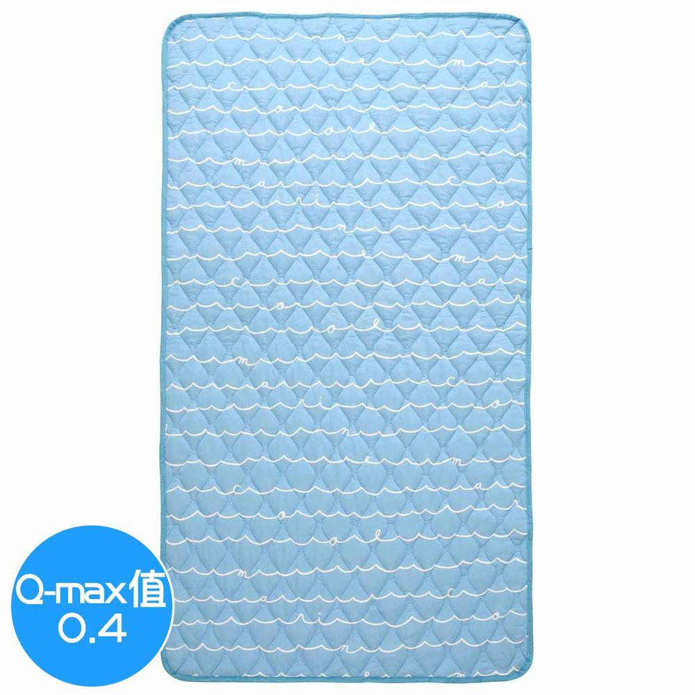 日本小泉 - 節電對策冷感波浪紋床墊毯-簡約線條字母-水藍 (100x205cm)