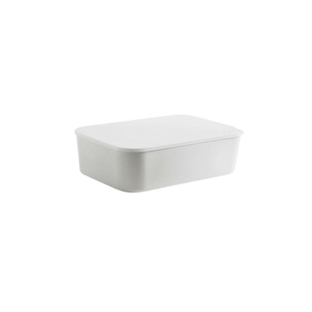 日系簡約白色收納盒-扁平款小號(26x18.5x8cm)-沒有把手
