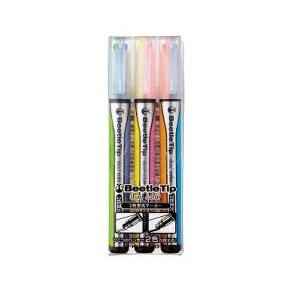 日本文具代購 - 雙色設計螢光筆三入組-經典色系