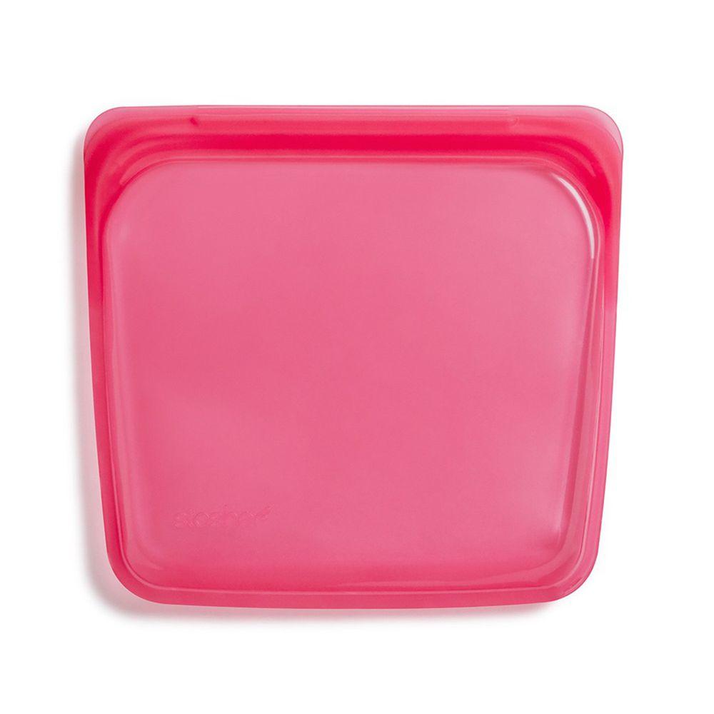 Stasher - 食品級白金矽膠密封食物袋-Sandwich方形-野莓紅 (443ml)