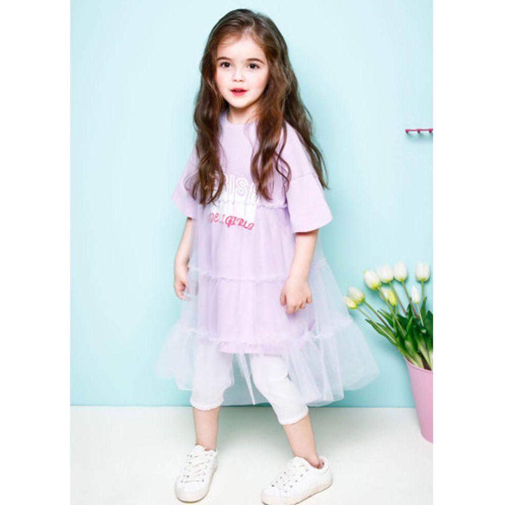 韓國 Jelispoon - 拼接網紗洋裝-淺紫