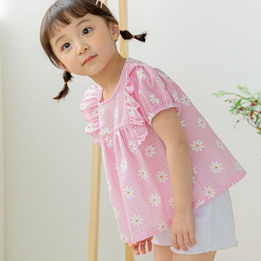 韓國 Orange Mom - 小雛菊格紋荷葉裝飾上衣-粉紅