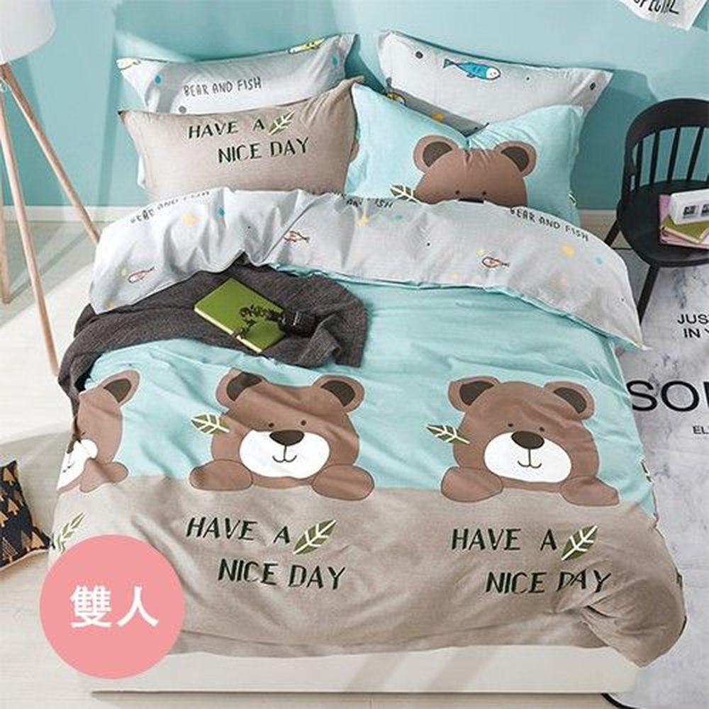 PureOne - 極致純棉寢具組-格林童趣-雙人鋪棉兩用被套床包四件組