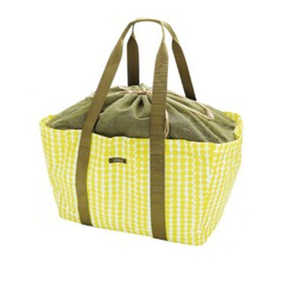 日本現代百貨 - 輕便可收納 保溫保冷袋/購物袋-沁黃點點 (42x22x25cm)