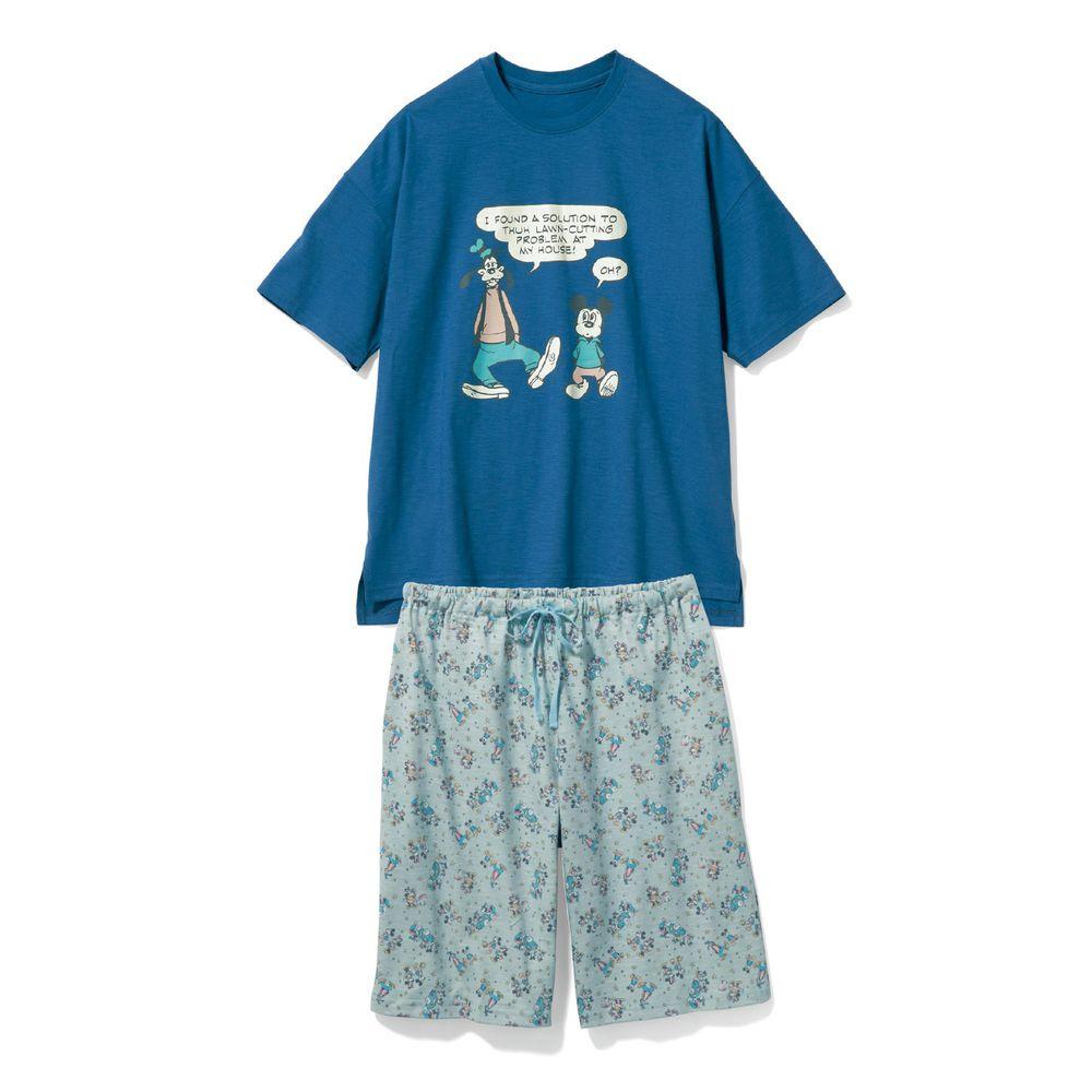 日本千趣會 - 迪士尼純棉印花短袖家居服(爸爸)-米奇與好友-藍
