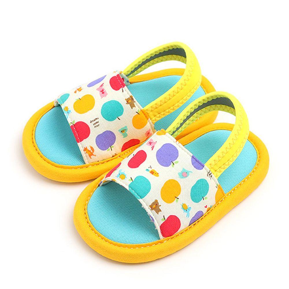 韓國 OZKIZ - 消音防滑室內鞋-鬆緊帶款(印花)-黃