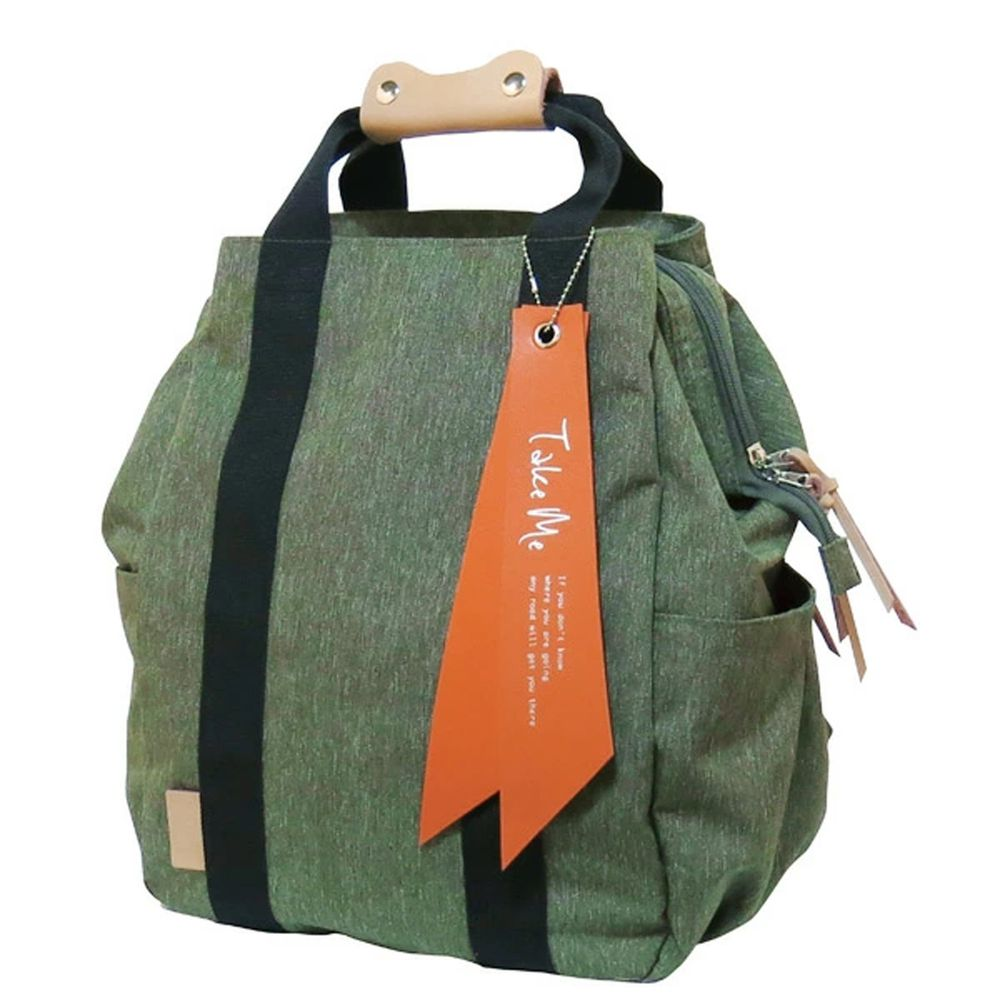 日本 nicott - 文青風 輕量 大開口多功能後背包/媽媽包-原野綠 (36x24x14.5cm)