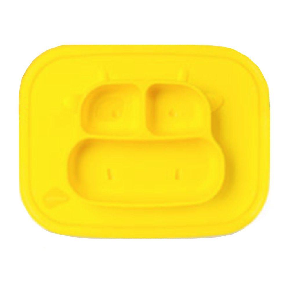韓國 sillymann - 100%鉑金矽膠乳牛防滑餐盤-黃色