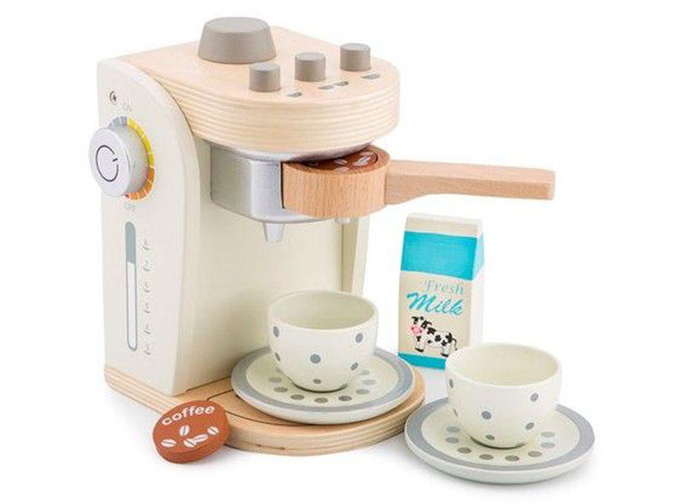 荷蘭 New Classic Toys - 木製家家酒咖啡機-優雅白