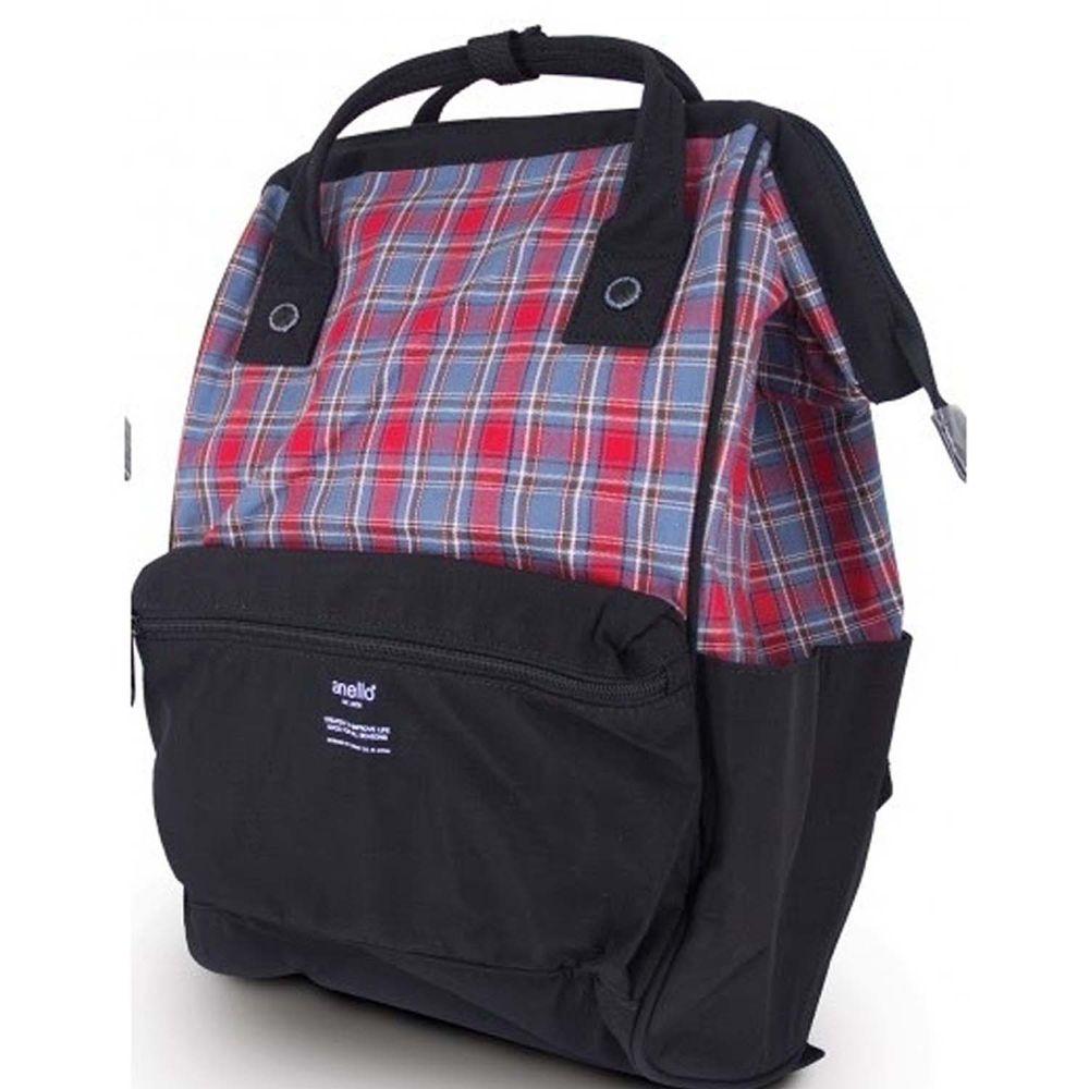 日本 Anello - 英格蘭格紋大開口後背包-Regular-BK黑 (39x26x18cm)