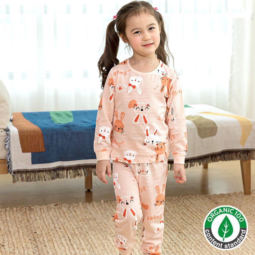 韓國 Maykids - 有機棉透氣輕薄長袖家居服-可愛粉紅兔