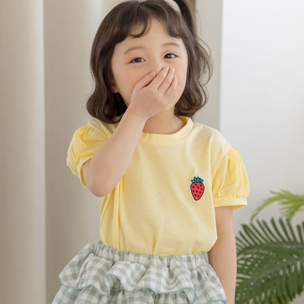 韓國 Orange Mom - 小巧草莓泡泡袖上衣-鵝黃